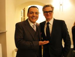 Igor Righetti con il premio Oscar Colin Firth, per il Premio Apoxiomeno, dedicato ad Alberto Sordi