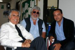 Con Lando Buzzanca in una pausa della fiction di Rai 1 Mio figlio - Nuove storie per il commissario Vivaldi dove ho interpretato il ruolo dello psicologo Giulio Andreani