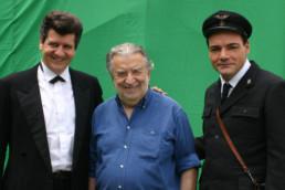 Con Pupi Avati e Fabio De Luigi sul set del film Gli amici del bar Margherita