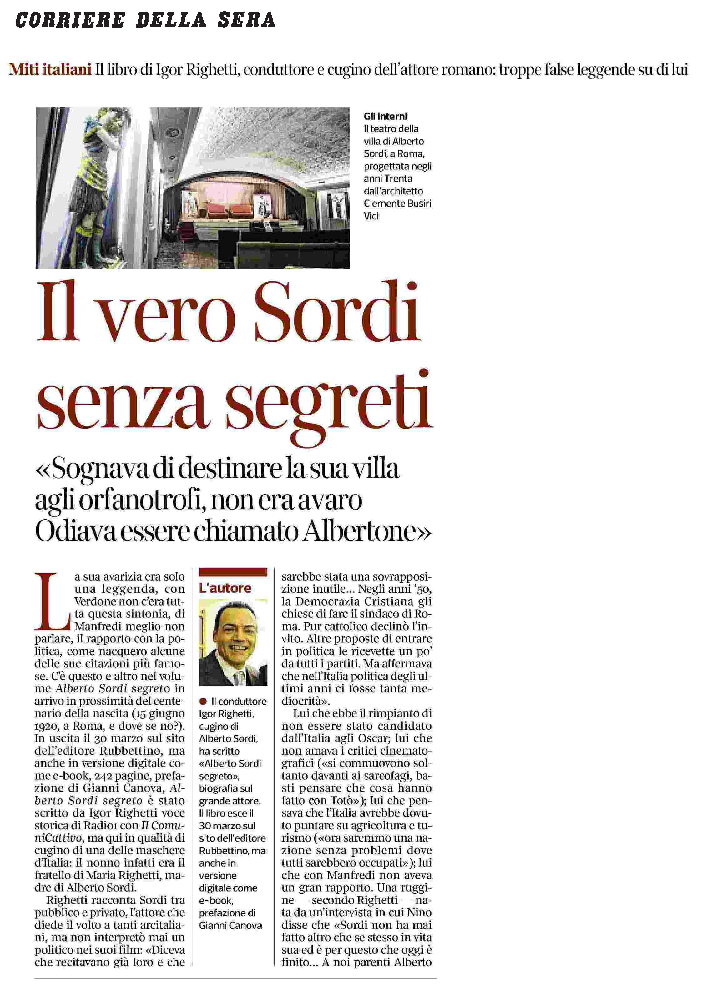Alberto Sordi segreto - Rassegna Stampa - Corriere della Sera - parte 1