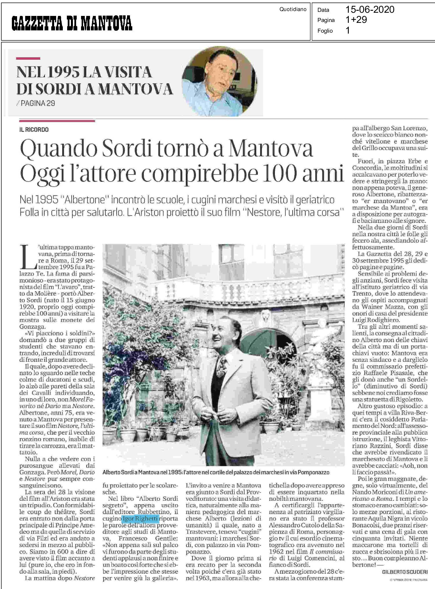 Quando Sordi tornò a Mantova. Oggi l'attore compirebbe 100 anni (La Gazzetta di Mantova)