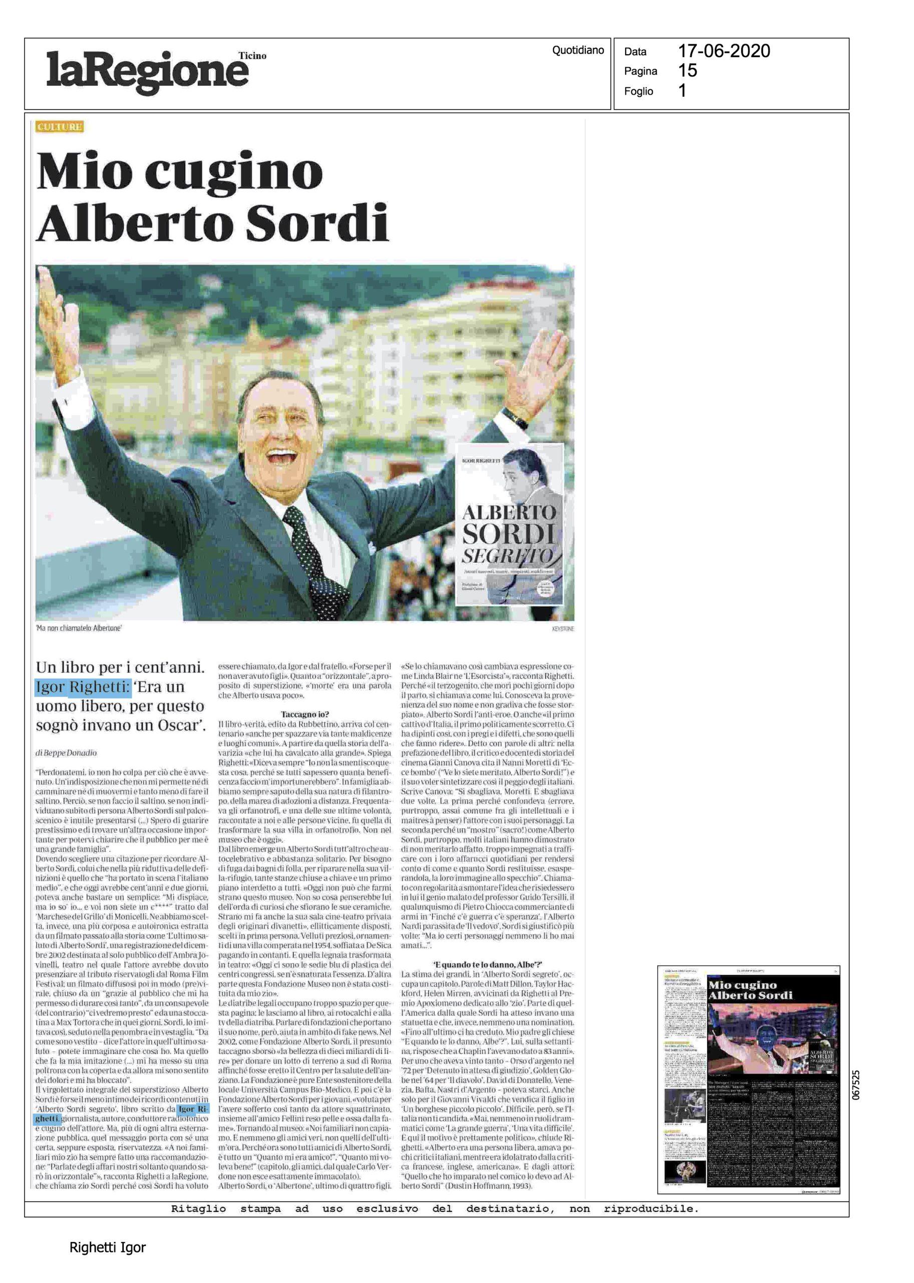La Regione (quotidiano del Ticino) Mio cugino Alberto Sordi